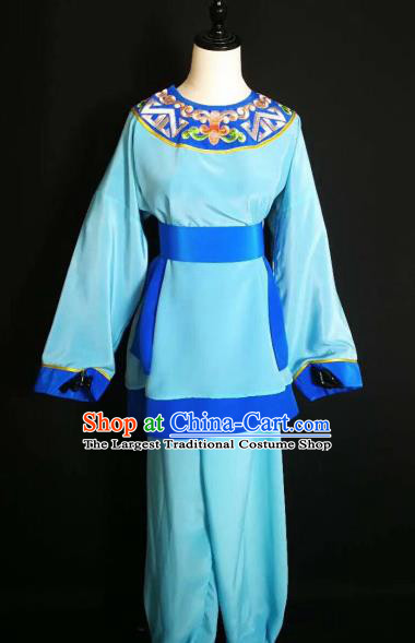 Traditional Chinese Huangmei Opera Servant Blue Costumes Ancient Livehand Clothing for Men