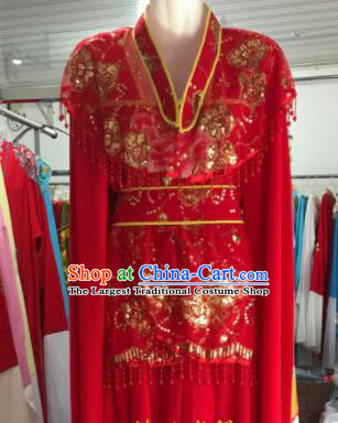 Traditional Chinese Handmade Beijing Opera Diva Red Dress Ancient Peri Princess Costumes for Women
