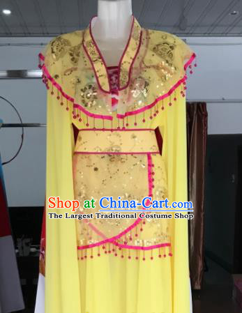Traditional Chinese Handmade Beijing Opera Diva Yellow Dress Ancient Peri Princess Costumes for Women