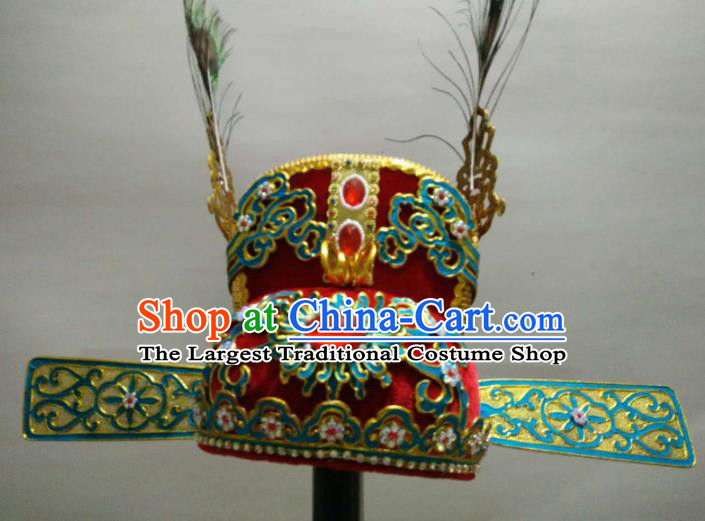 Traditional Chinese Beijing Opera Niche Red Hat Ancient Scholar Headwear for Men