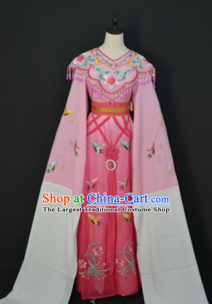 Traditional Chinese Handmade Beijing Opera Diva Zhu Yingtai Pink Dress Ancient Peri Princess Costumes for Women