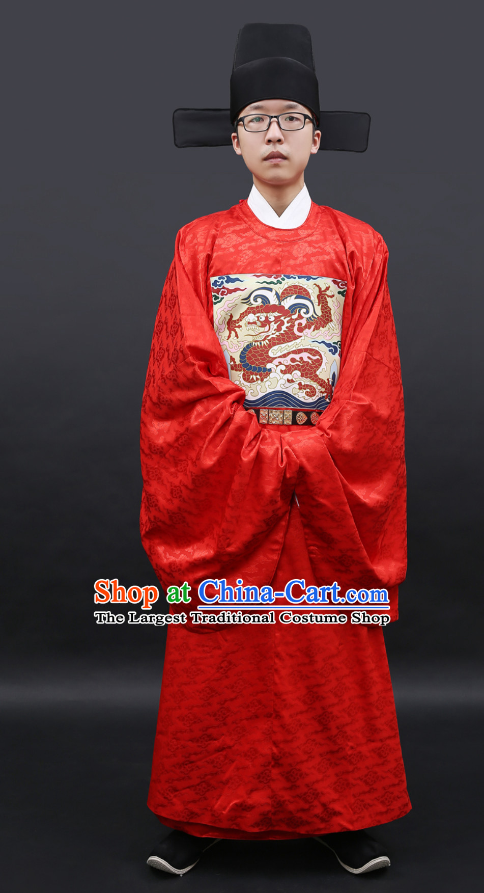 Ancient Chinese Government Official Costumes Clothing and Hat Complete Set