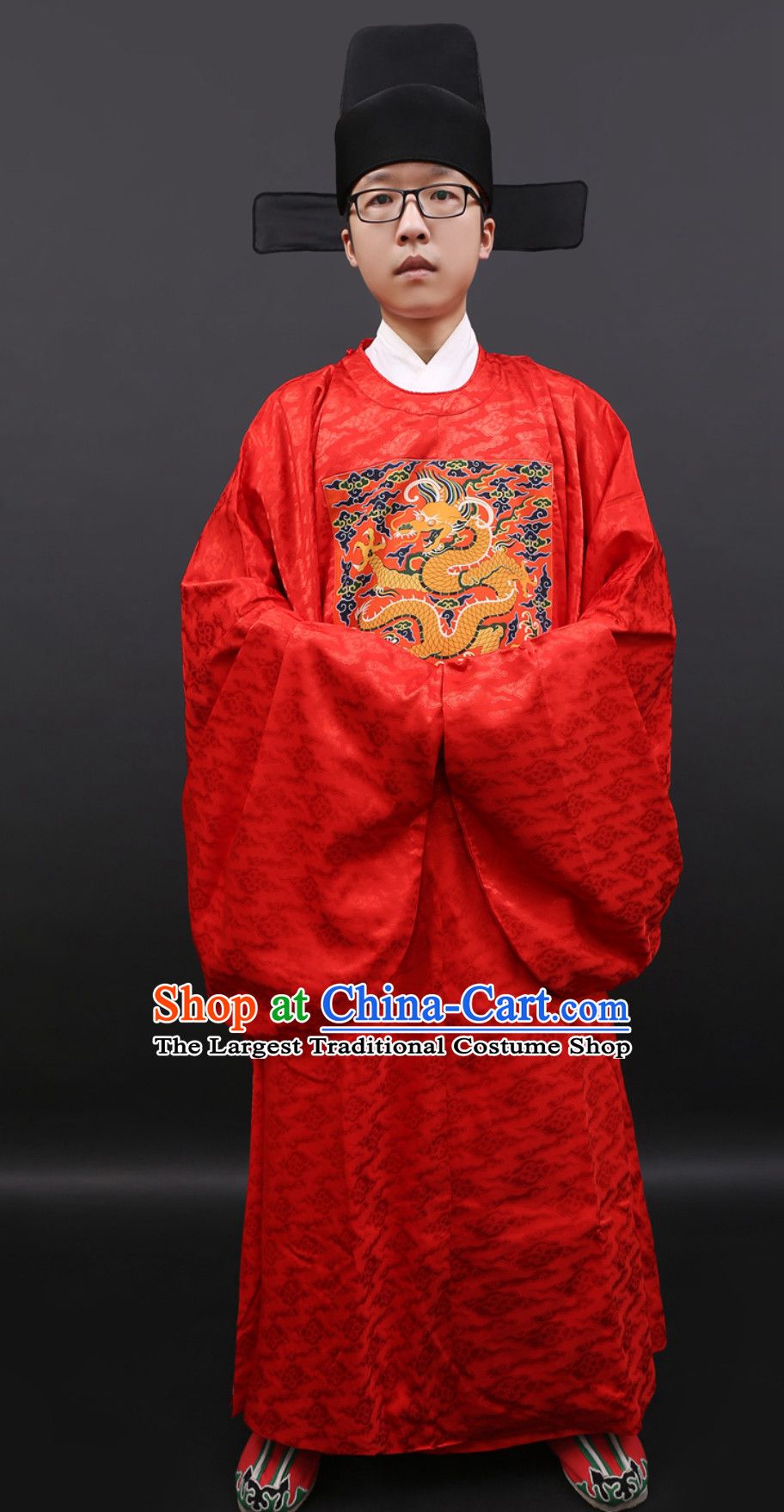Ancient Chinese Government Official Clothing and Hat Complete Set