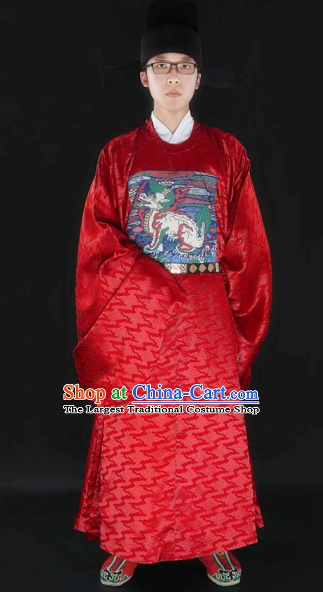 Ancient Chinese Government Official Film Use Clothing and Hat Complete Set for Men