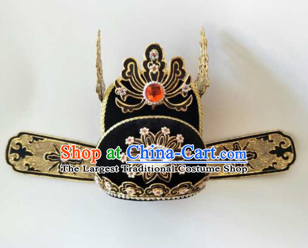 Traditional Chinese Beijing Opera Niche Black Hat Ancient Scholar Headwear for Men