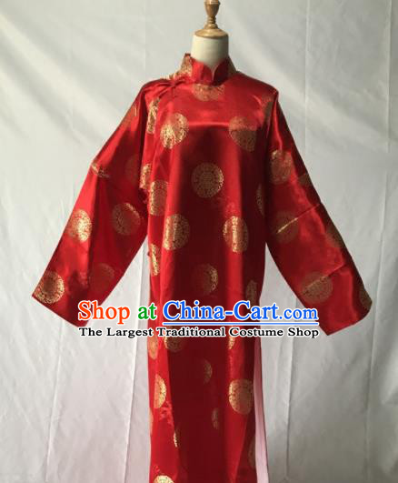 Traditional Chinese Huangmei Opera Niche Red Long Gown Ancient Qing Dynasty Prince Costume for Men