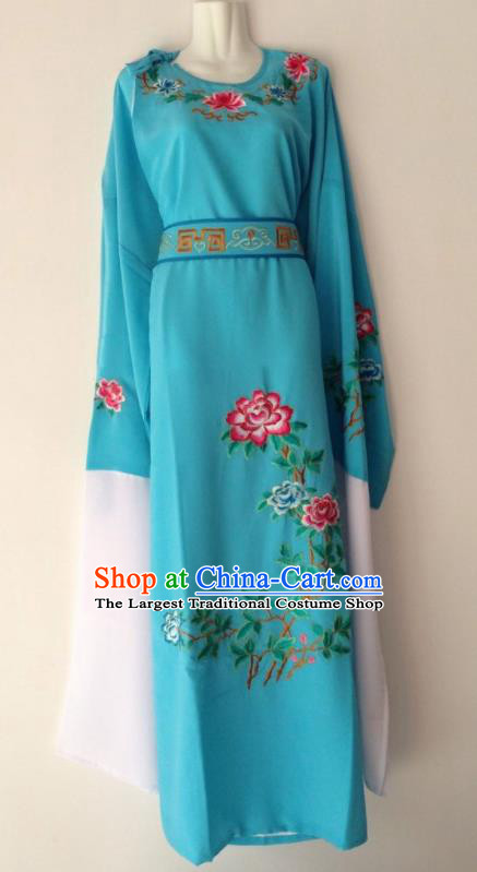 Traditional Chinese Huangmei Opera Niche Blue Robe Ancient Gifted Scholar Costume for Men