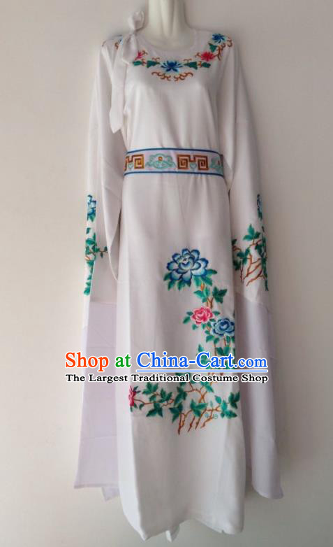 Traditional Chinese Huangmei Opera Niche White Robe Ancient Gifted Scholar Costume for Men