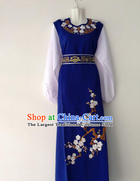 Traditional Chinese Huangmei Opera Niche Embroidered Plum Blue Robe Ancient Gifted Scholar Costume for Men
