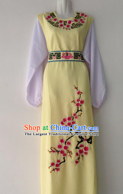 Traditional Chinese Huangmei Opera Niche Embroidered Plum Yellow Robe Ancient Gifted Scholar Costume for Men