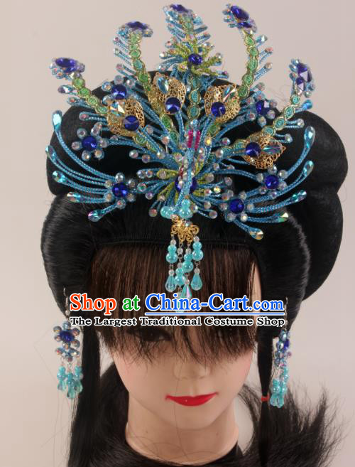 Traditional Chinese Beijing Opera Diva Blue Phoenix Hairpins Hair Accessories Ancient Court Princess Headwear for Women