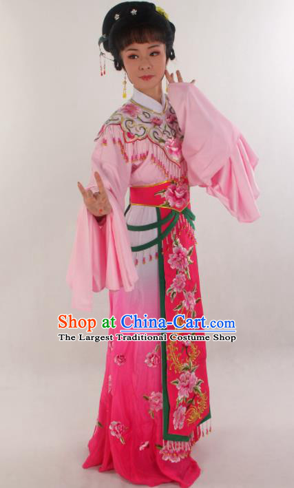 Handmade Traditional Chinese Beijing Opera Hua Tan Diva Rosy Dress Ancient Imperial Consort Costumes for Women