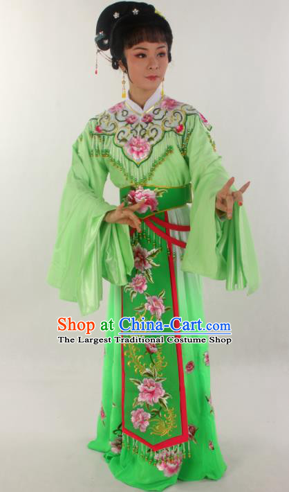 Handmade Traditional Chinese Beijing Opera Hua Tan Diva Green Dress Ancient Imperial Consort Costumes for Women