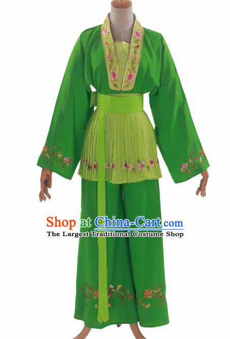 Handmade Traditional Chinese Beijing Opera Young Lady Green Clothing Ancient Maidservants Costumes for Women
