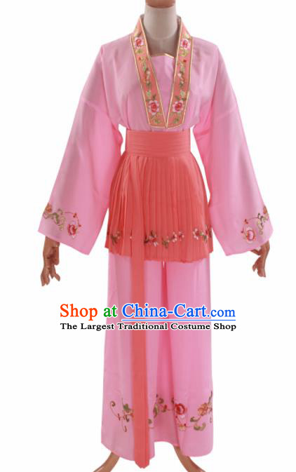 Handmade Traditional Chinese Beijing Opera Young Lady Pink Clothing Ancient Maidservants Costumes for Women