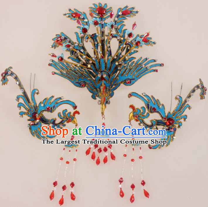 Traditional Chinese Beijing Opera Diva Hair Accessories Phoenix Hairpins Ancient Court Princess Headwear for Women
