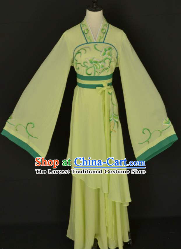 Handmade Traditional Chinese Beijing Opera Hua Tan Green Dress Ancient Court Maid Costumes for Women
