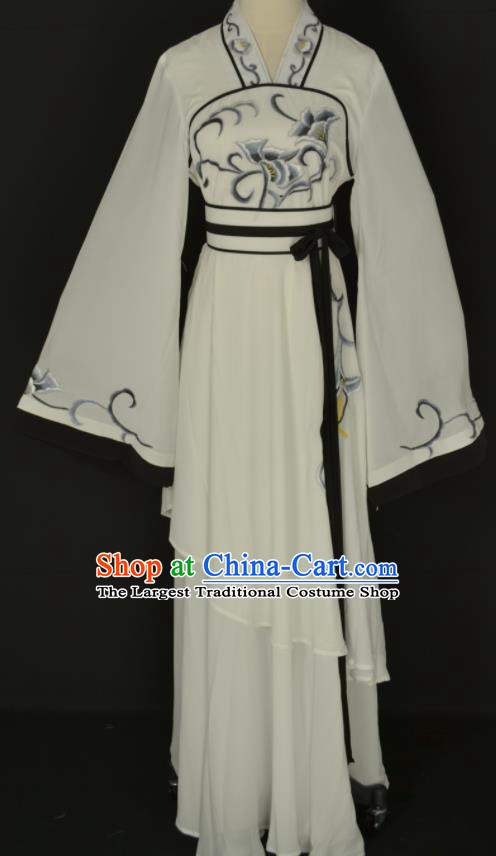 Handmade Traditional Chinese Beijing Opera Hua Tan White Dress Ancient Court Maid Costumes for Women