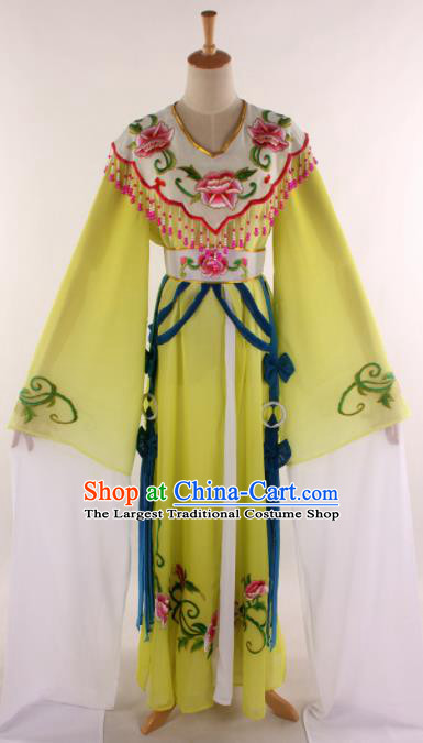 Handmade Traditional Chinese Beijing Opera Princess Yellow Dress Ancient Court Lady Costumes for Women