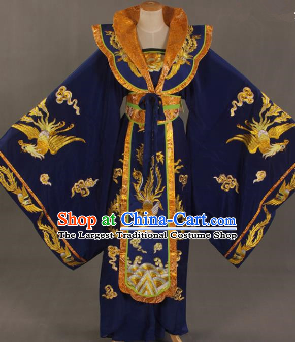 Handmade Traditional Chinese Beijing Opera Queen Royalblue Dress Ancient Court Lady Costumes for Women