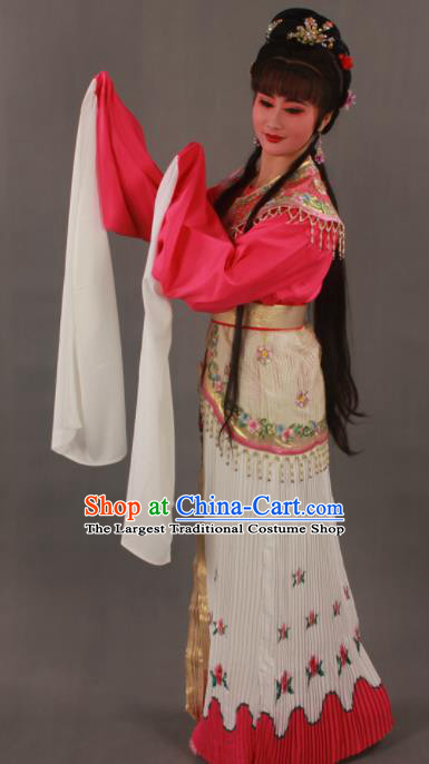 Traditional Chinese Peking Opera Actress Rosy Dress Ancient Court Princess Costumes for Women