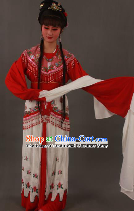 Traditional Chinese Peking Opera Actress Red Dress Ancient Court Princess Costumes for Women
