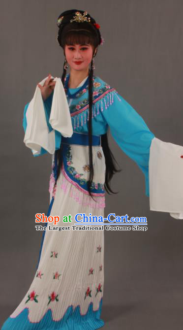 Traditional Chinese Peking Opera Actress Blue Dress Ancient Court Princess Costumes for Women