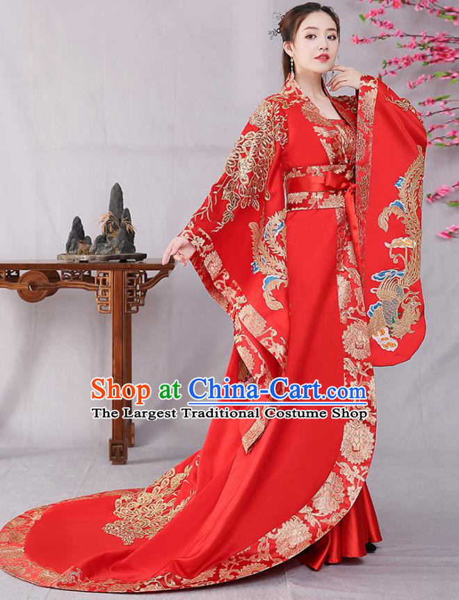 Traditional Chinese Tang Dynasty Court Wedding Red Hanfu Dress Ancient Drama Imperial Consort Replica Costumes for Women
