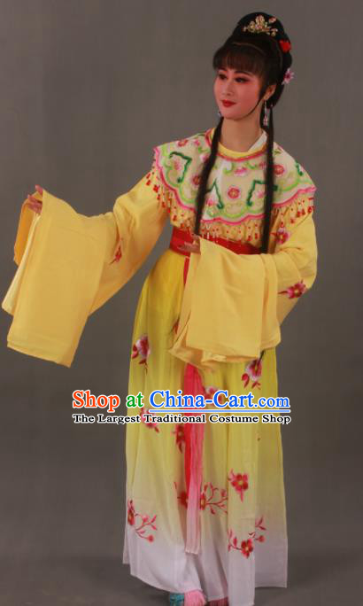 Traditional Chinese Peking Opera Actress Yellow Dress Ancient Imperial Princess Costume for Women