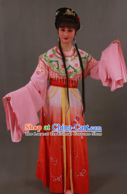 Traditional Chinese Peking Opera Actress Red Dress Ancient Imperial Princess Costume for Women