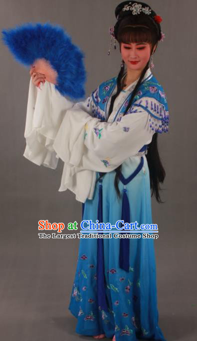 Traditional Chinese Peking Opera Actress Zhu Yingtai Blue Dress Ancient Aristocratic Miss Costume for Women