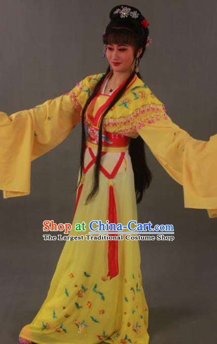 Traditional Chinese Peking Opera Actress Zhu Yingtai Yellow Dress Ancient Aristocratic Miss Costume for Women