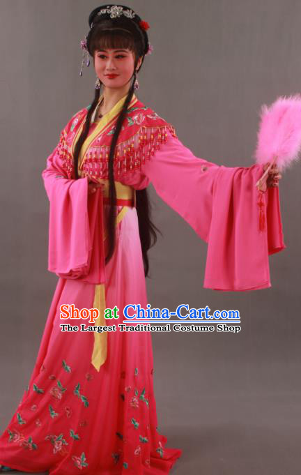 Traditional Chinese Peking Opera Actress Rosy Dress Ancient Aristocratic Miss Costume for Women
