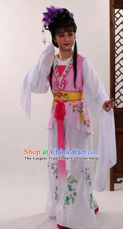 Traditional Chinese Peking Opera Maidservants Pink Dress Ancient Servant Girl Costume for Women