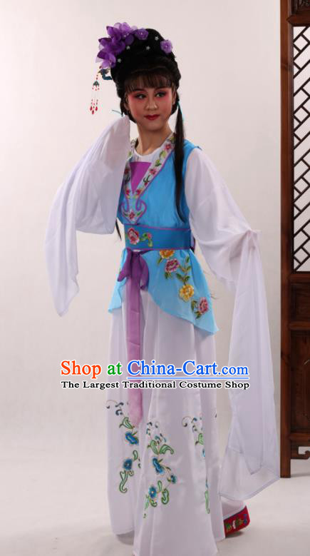 Traditional Chinese Peking Opera Maidservants Blue Dress Ancient Servant Girl Costume for Women