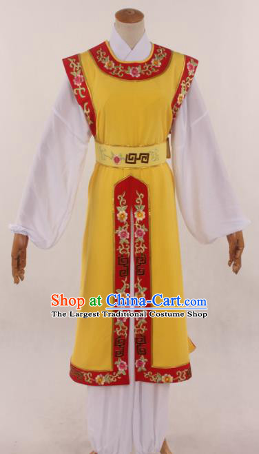 Traditional Chinese Huangmei Opera Niche Yellow Clothing Ancient Prince Costume for Men