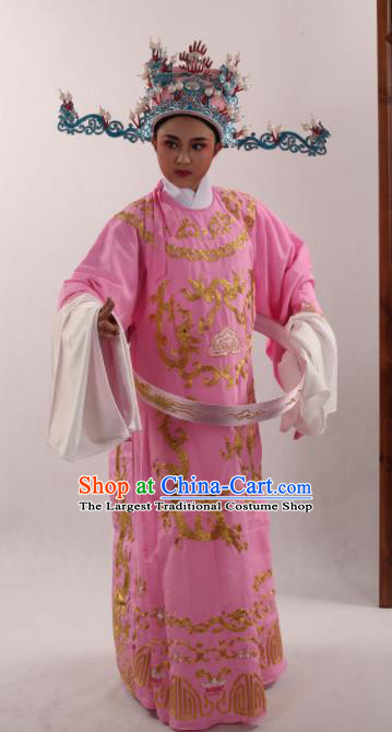 Traditional Chinese Huangmei Opera Niche Pink Robe Ancient Number One Scholar Embroidered Costume for Men