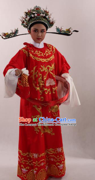 Traditional Chinese Huangmei Opera Niche Red Robe Ancient Number One Scholar Embroidered Costume for Men