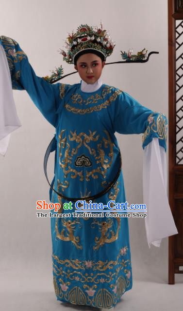 Traditional Chinese Huangmei Opera Niche Blue Robe Ancient Number One Scholar Embroidered Costume for Men