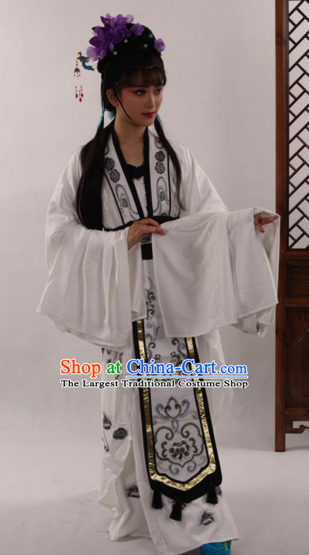 Traditional Chinese Peking Opera Diva White Dress Ancient Court Princess Costume for Women
