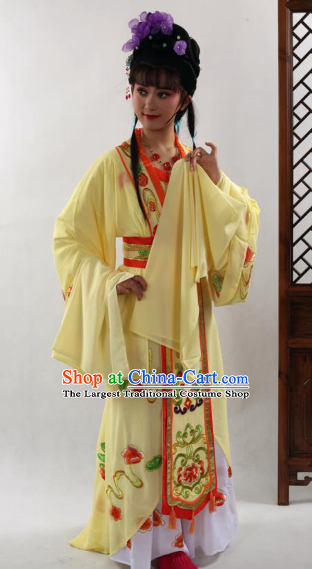 Traditional Chinese Peking Opera Diva Yellow Dress Ancient Court Princess Costume for Women