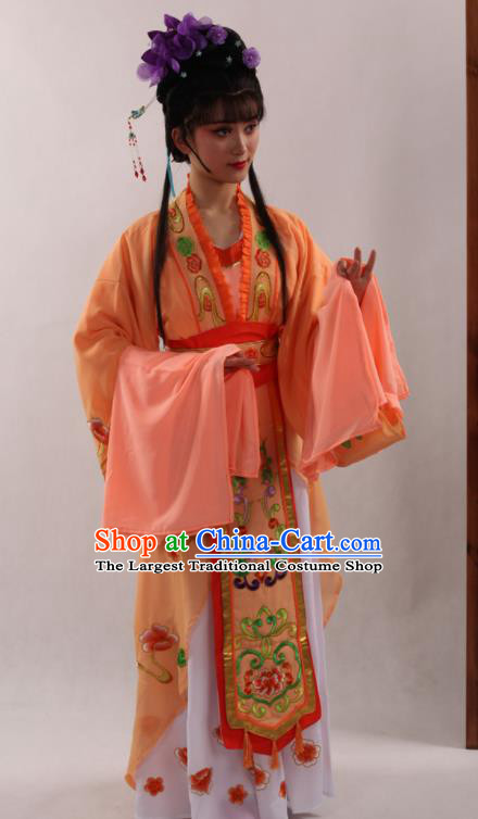 Traditional Chinese Peking Opera Diva Orange Dress Ancient Court Princess Costume for Women