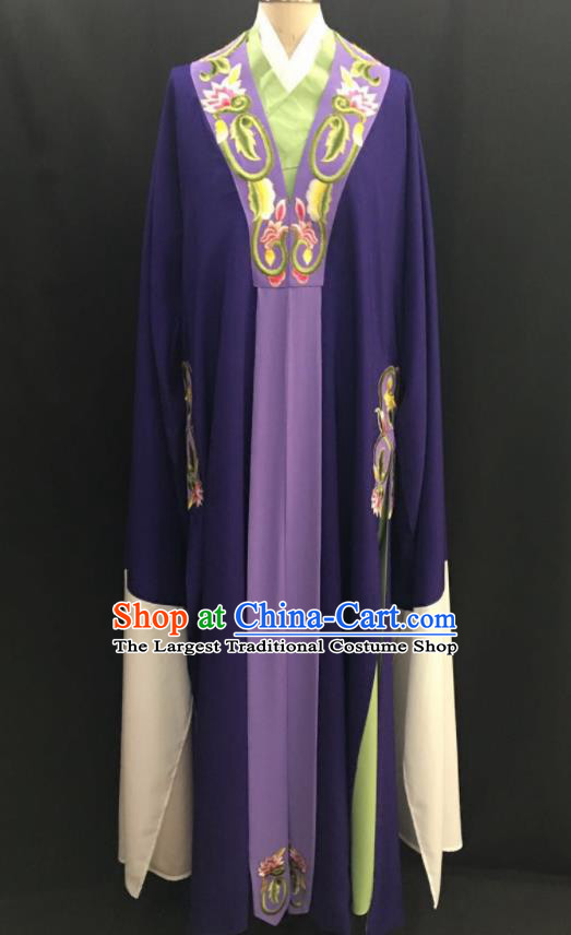 Traditional Chinese Huangmei Opera Niche Purple Robe Ancient Romance of the Western Chamber Scholar Costume for Men