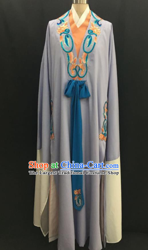 Traditional Chinese Huangmei Opera Niche Grey Robe Ancient Romance of the Western Chamber Scholar Costume for Men