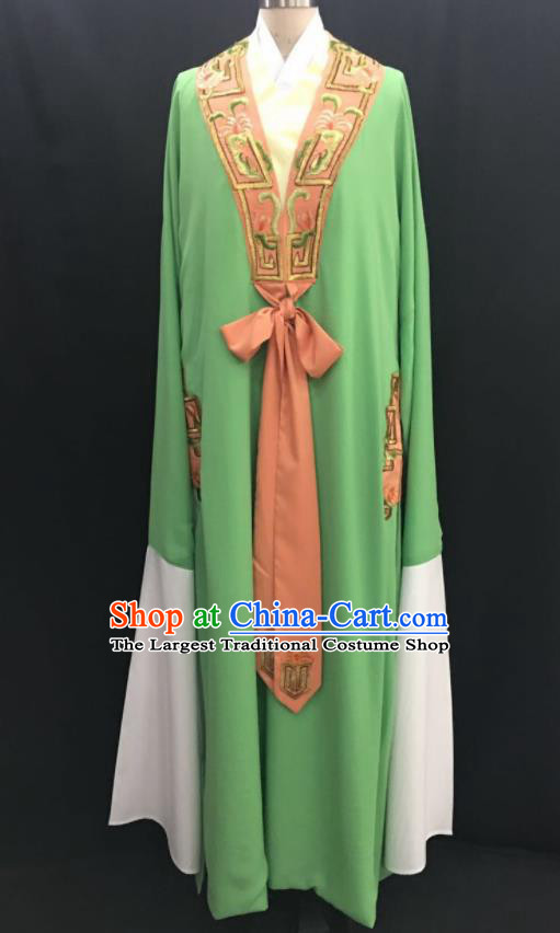 Traditional Chinese Huangmei Opera Niche Green Robe Ancient Romance of the Western Chamber Scholar Costume for Men