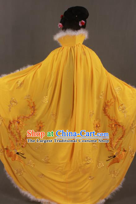 Traditional Chinese Peking Opera Actress Yellow Cloak Ancient Imperial Consort Wang Zhaojun Costume for Women