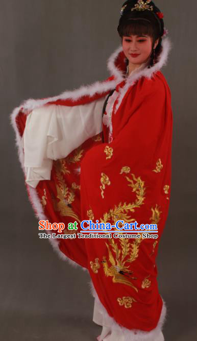 Traditional Chinese Peking Opera Actress Red Cloak Ancient Imperial Consort Wang Zhaojun Costume for Women