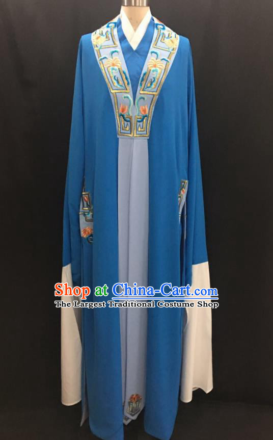 Traditional Chinese Huangmei Opera Niche Blue Robe Ancient Romance of the Western Chamber Scholar Costume for Men
