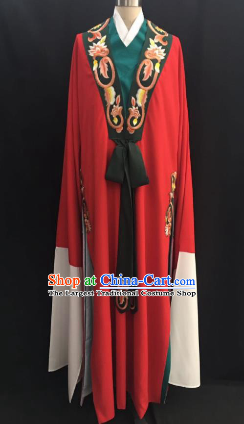 Traditional Chinese Huangmei Opera Niche Red Robe Ancient Romance of the Western Chamber Scholar Costume for Men