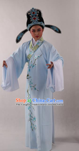 Traditional Chinese Shaoxing Opera Niche Costume Ancient Scholar Embroidered Plum Blue Robe Clothing for Men